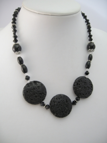Lavastone Necklace with 3 amulets