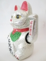 Lucky Cat glitter silver with moveable arm medium