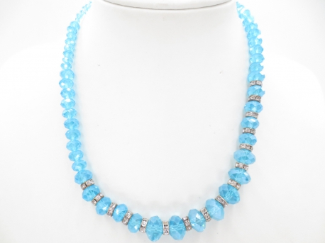 Crystal necklace with diamonds blue