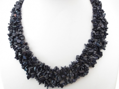 Wide Mineral Necklace Blue Goldstone