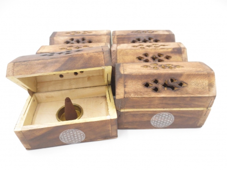 Wooden Incense Cone Box Antique Flower of Life (6 pcs)