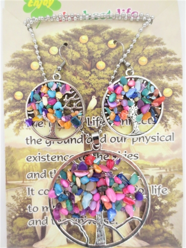 Tree of Life Necklace + earring set mixed