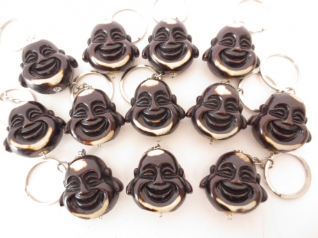 Happy Buddha head keyhanger brown