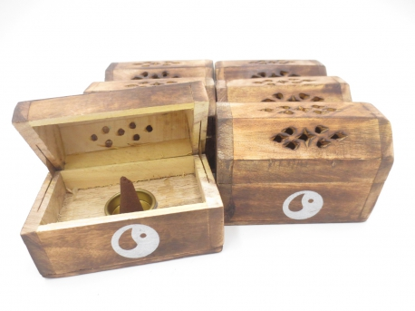 Wooden Incense Cone Box Antique Yin Yang (6 pcs)