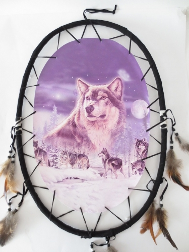 Oval Dreamcatcher Group Wolves II