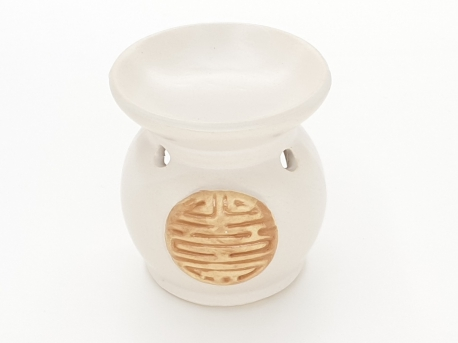 Oilburner round white with Chinese sign