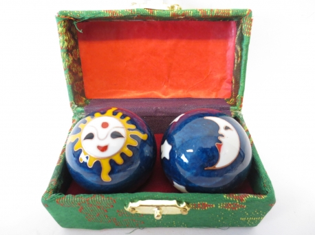 Massage balls blue with Sun & Moon 4.5cm