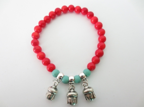 Red Coral Bracelet with 3 Happy Buddha pendants