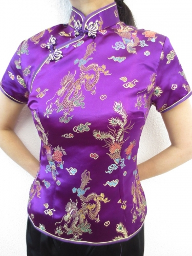Shanghai blouse dragon/phoenix purple