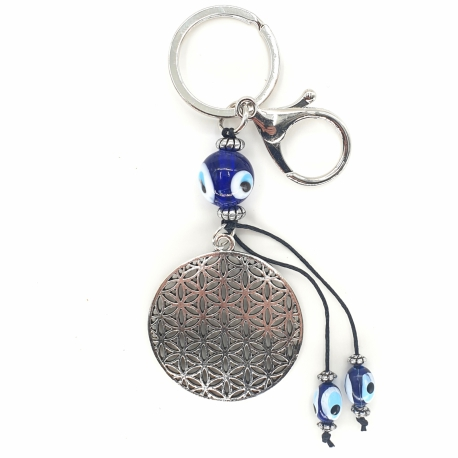 Wholesale - Blue Evil Eye Keychain Flower of Life Set of 6