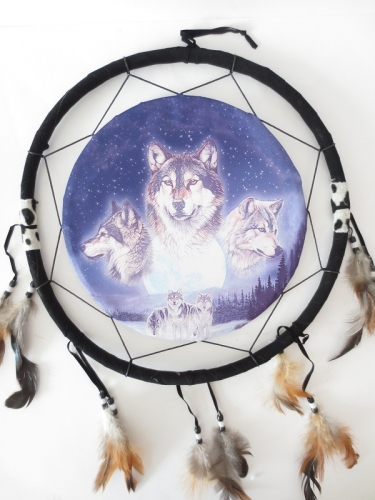40cm Dreamcatcher 3 wolves head