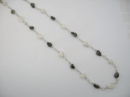 Small Chakra Necklace Onyx Milky Quartz