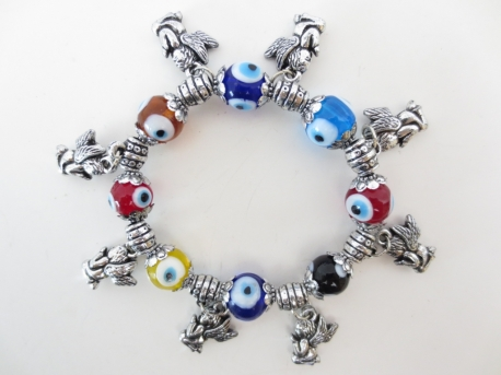 Mixed evil eye bracelets with Angels set of 6