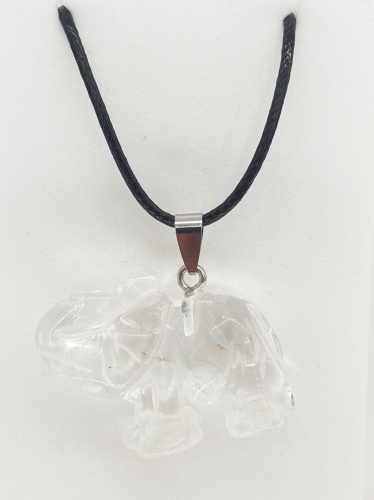 Luxury Elephant Pendant Necklace - Rock Crystal