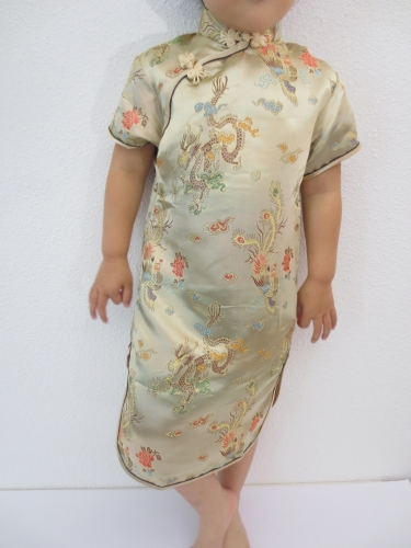 Girls Dress dragon phoenix gold