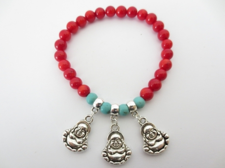 Red Coral Bracelet with 3 Buddha pendants