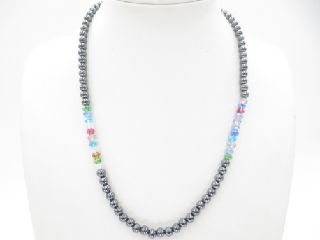 Crystal/hematite necklace