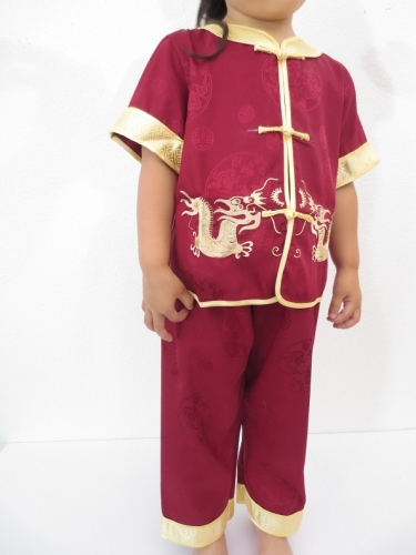 Kid suit with dragon dark red