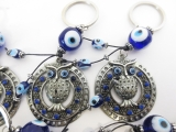 Blue evil eye keyhanger set with owl round (6 pcs)