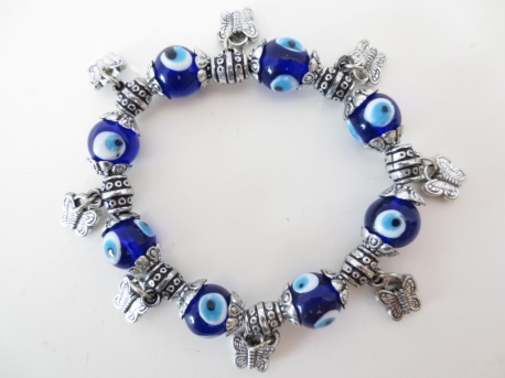Blue evil eye bracelets with butterfly set of 6
