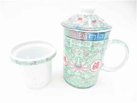 Green mug with pink lotus
