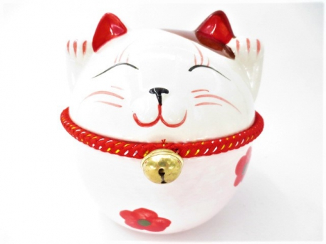 Lucky cat big with bell pink