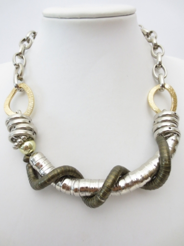 silver and green metal necklace