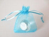 Organza gift bag blanco Turquoise 7,5 x 10 cm