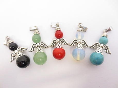 Angel gemstone pendant set (5pcs) - mixed