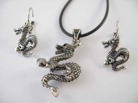 Dragon necklace and earring
