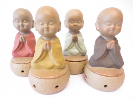 Monk meditating cone burner set of 4