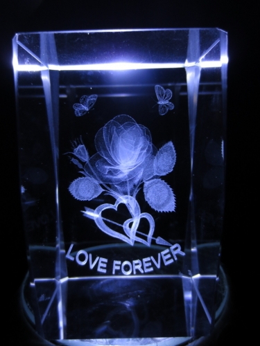 3D laserblok with love forever and butterflies