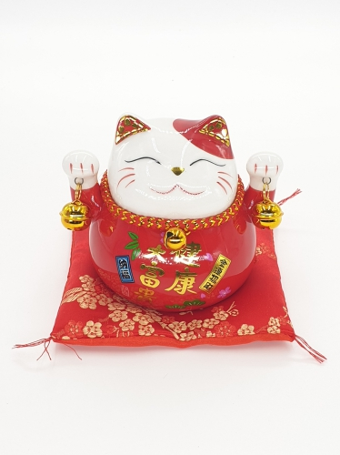 Wholesale - Lucky Cat Money box on pillow with 2 bells Red