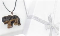 Luxury Elephant Pendant Necklace - Tiger Eye