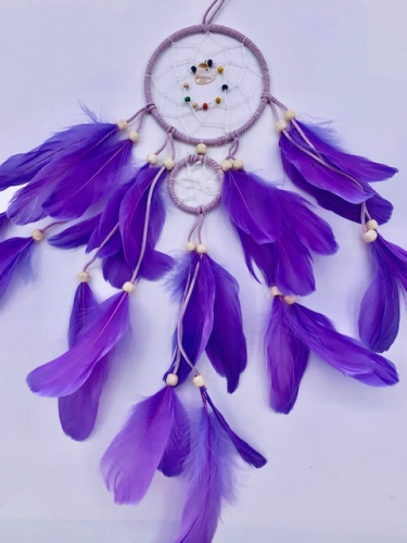 Wholesale Dreamcather - 11cm + 1 Round Dreamcatcher Goose feathers Lilac