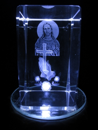 3D laserblok with Jesus and cross