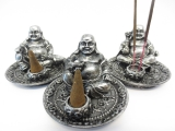 Happy Buddha Set of 3 Incense Holders silver