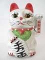 Lucky Cat glitter silver with moveable arm small