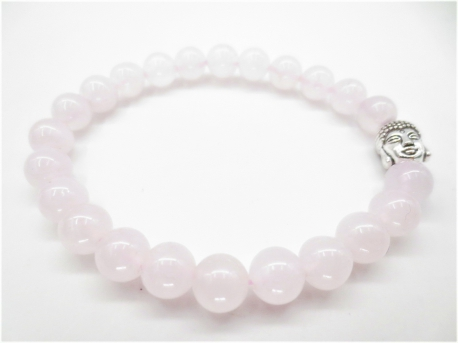 8mm bracelet rose quartz with Buddha without box