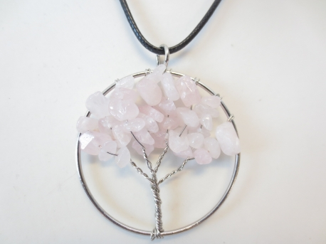 Tree of Life Necklace rose quartz