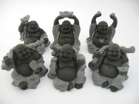 Wholesale - 8cm Buddha Set Hematite 6 pieces sitting