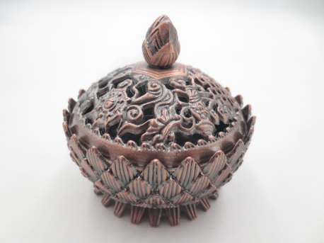 Wholesale Tibetan Lotus Grain Incense Burner Small Brass Red