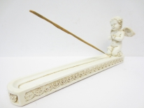 Incense holder cupid white
