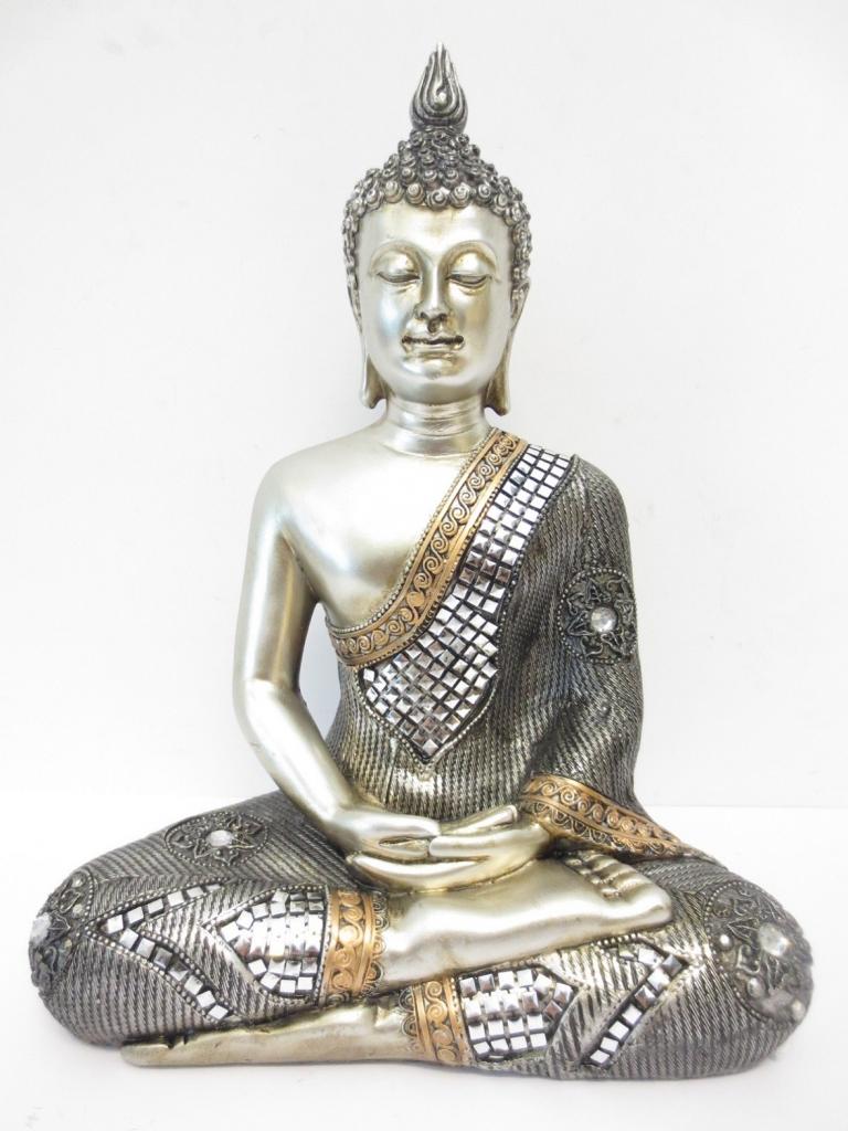silver meditating buddha large iii dragon euro trade bv